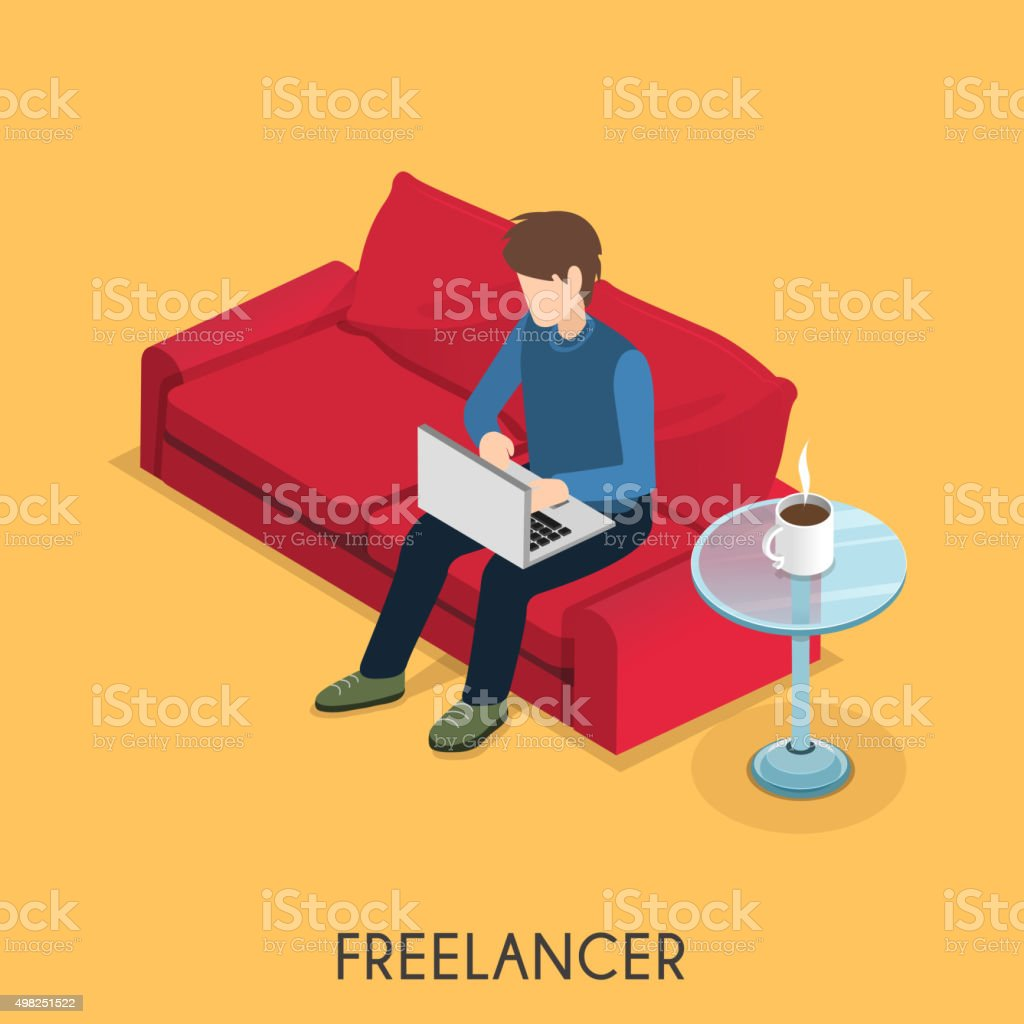 freelancer concept vector art illustration