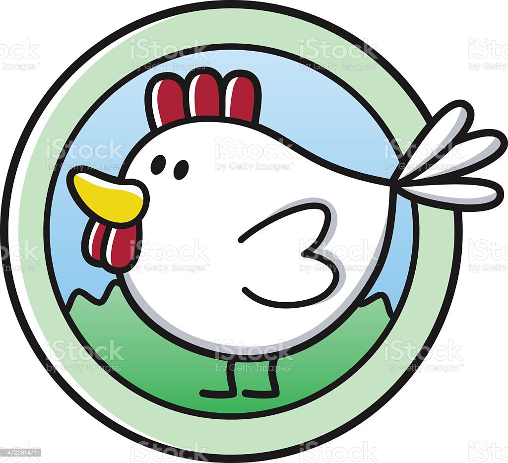 free-range chicken symbol / natural farming royalty-free stock vector art