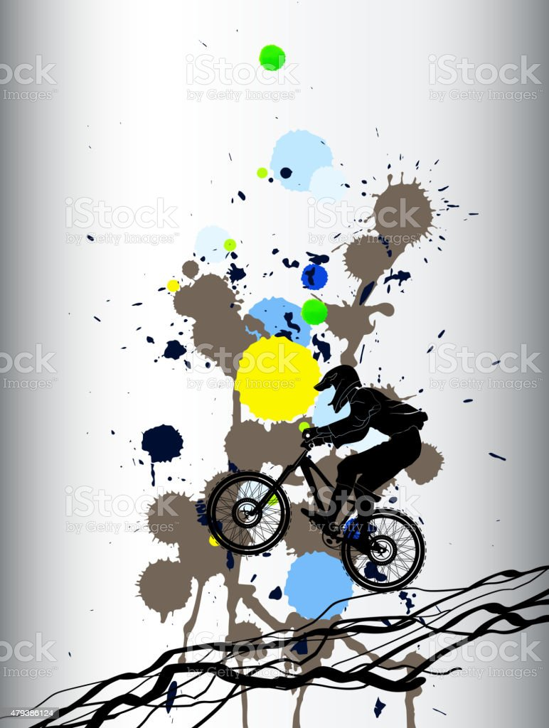Freeride mountainbiking colorful background with blotches vector art illustration