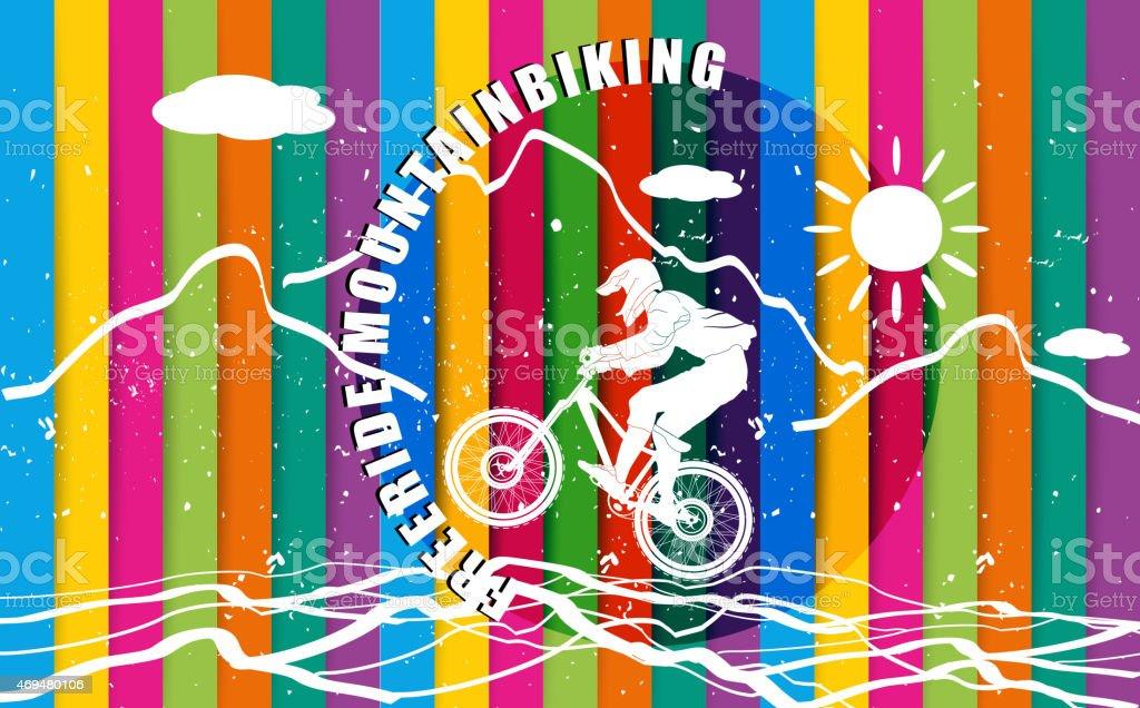 Freeride mountainbiking rainbow colorful background vector art illustration