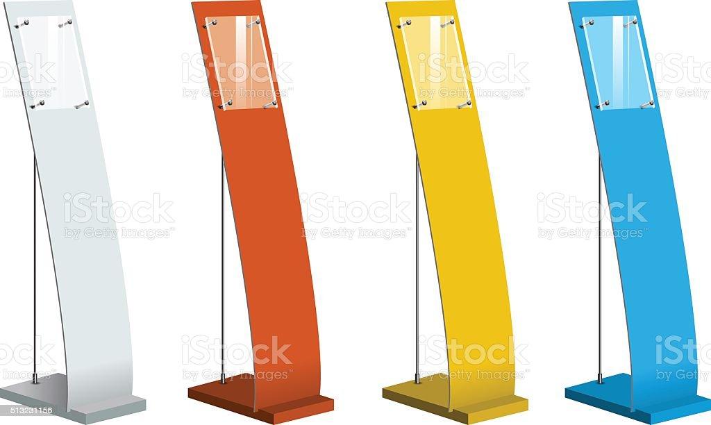 Freestanding information kiosk, terminal, retail trade stand. Vector vector art illustration