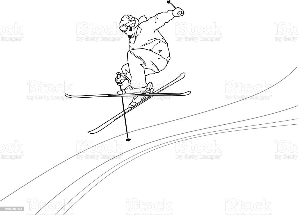 Freestyle Skier Outlined royalty-free stock vector art