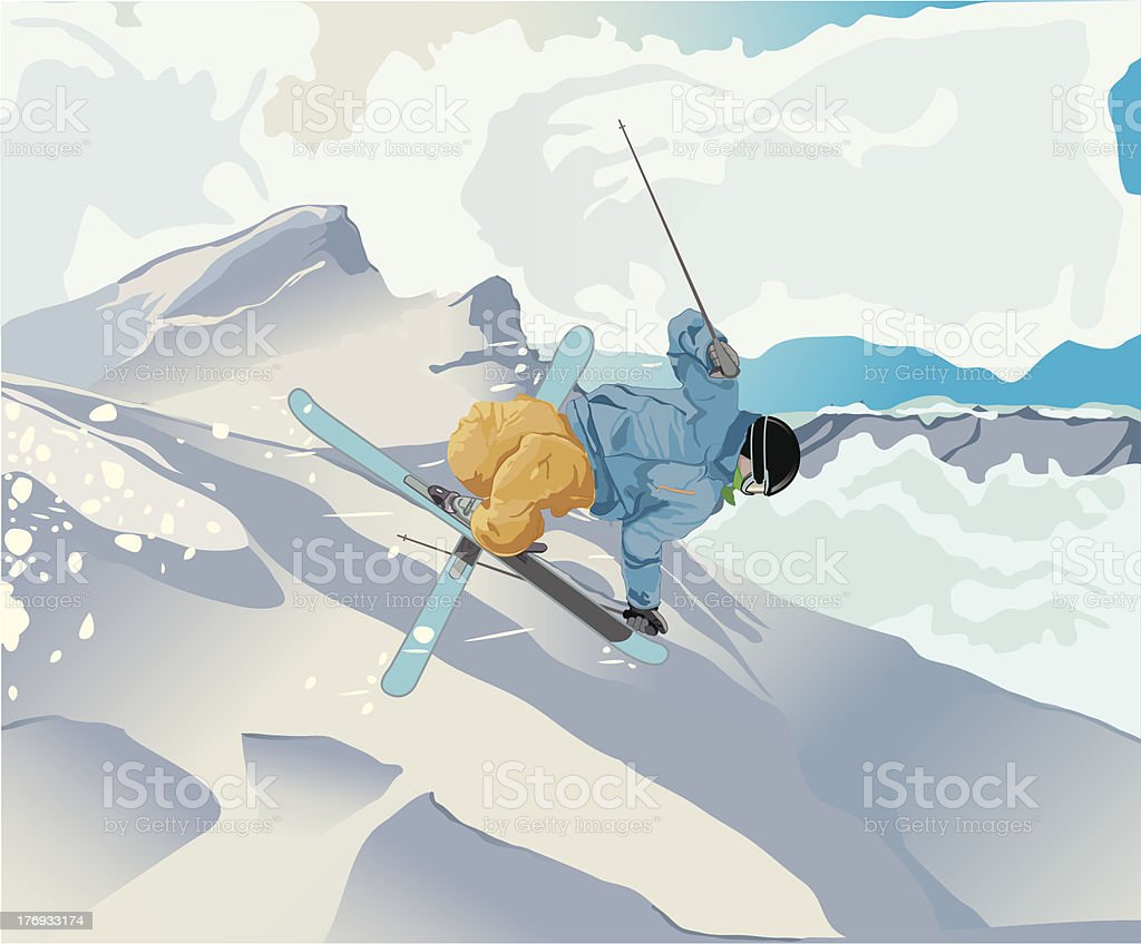 Freestyle Skier royalty-free stock vector art
