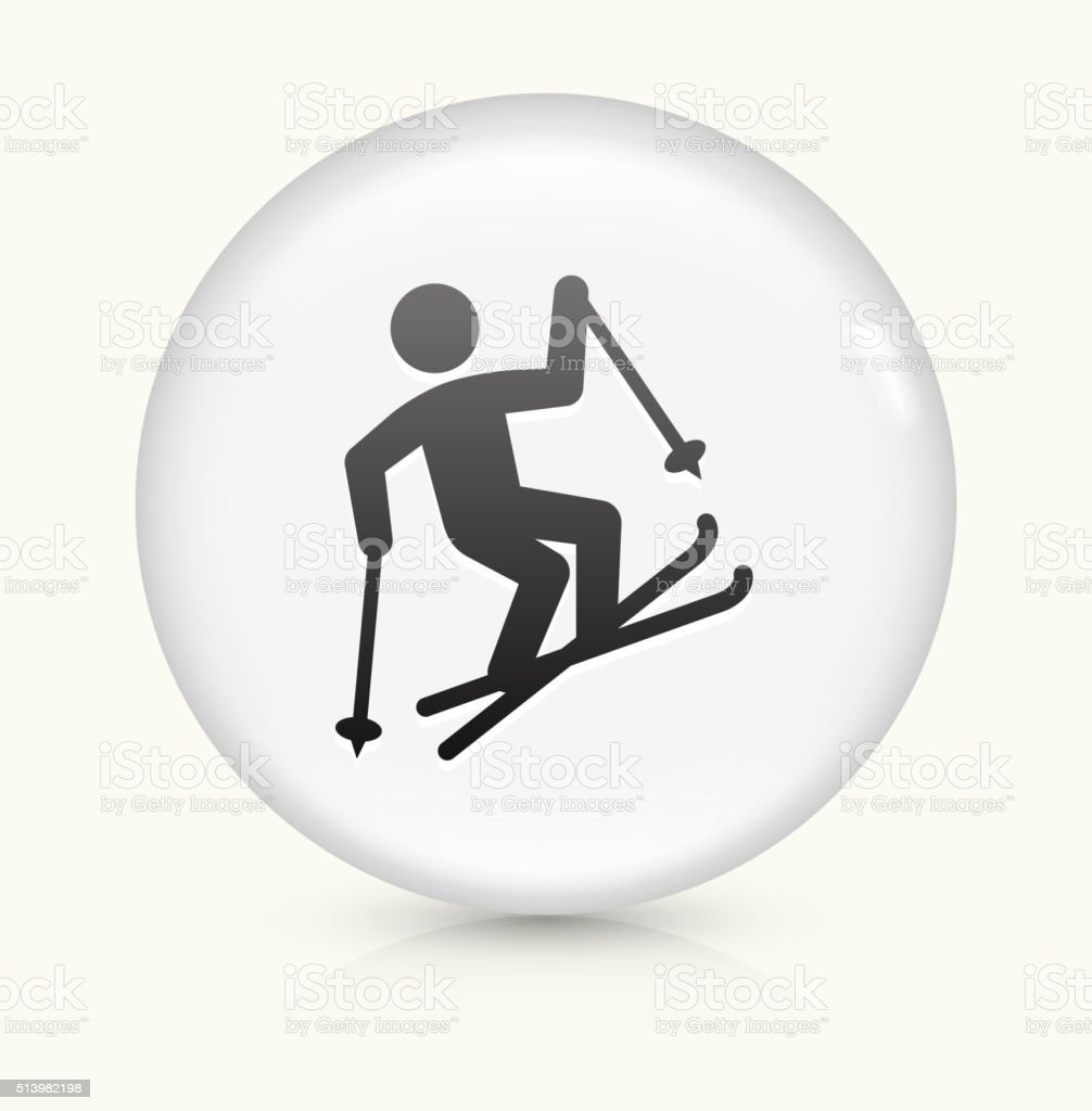 Freestyle Skiing icon on white round vector button vector art illustration