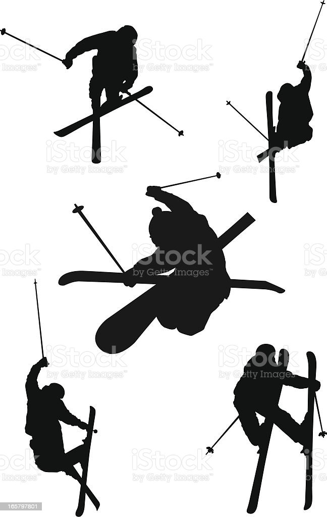 Freestyle skiing silhouettes vector art illustration