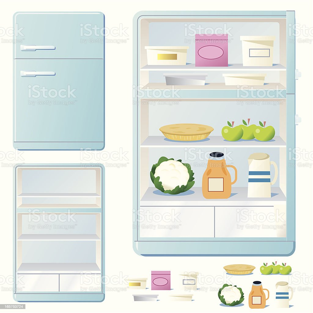Freezer full of food vector art illustration