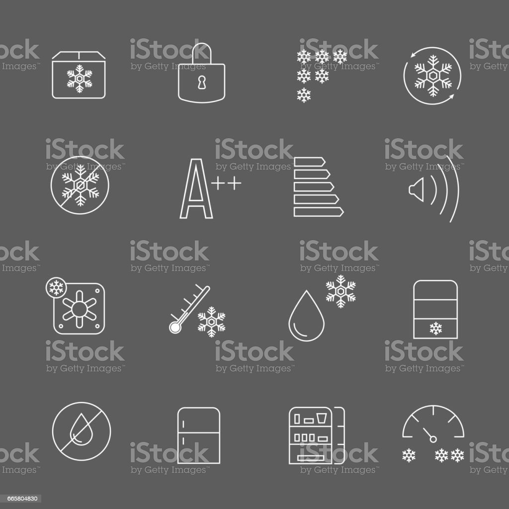 Freezing signs and freezer symbols. Refrigerator functional vector thin line icons vector art illustration