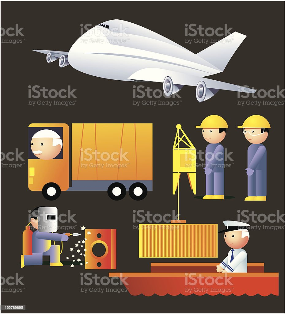 Freight and maintenance Icons royalty-free stock vector art