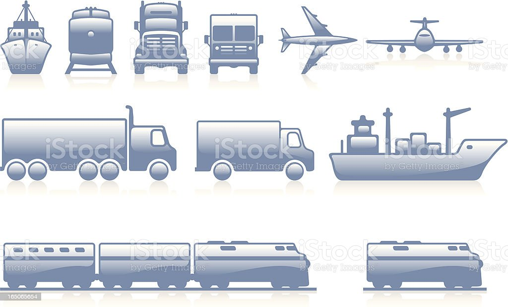 Freight Icons - Blue royalty-free stock vector art