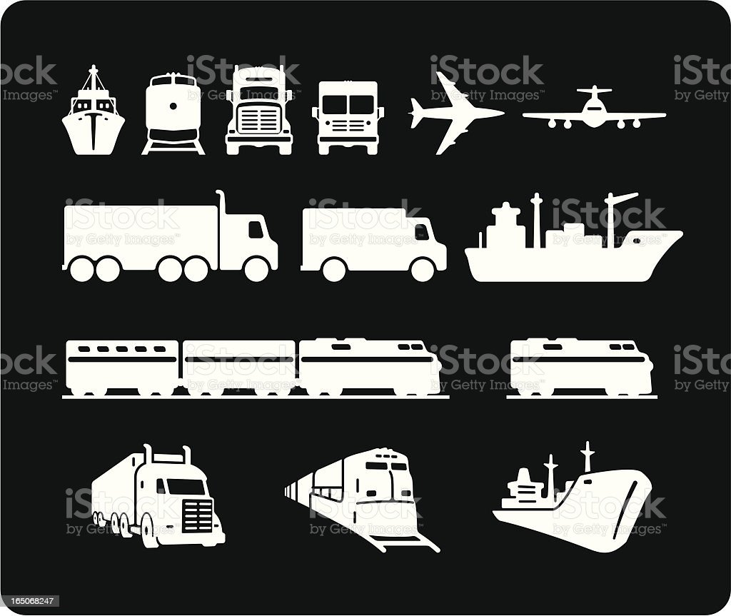 Freight Icons royalty-free stock vector art
