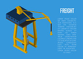 Freight isometric banner with cargo crane