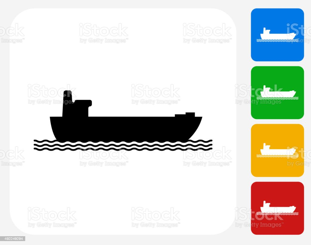 Freight Ship Icon Flat Graphic Design vector art illustration