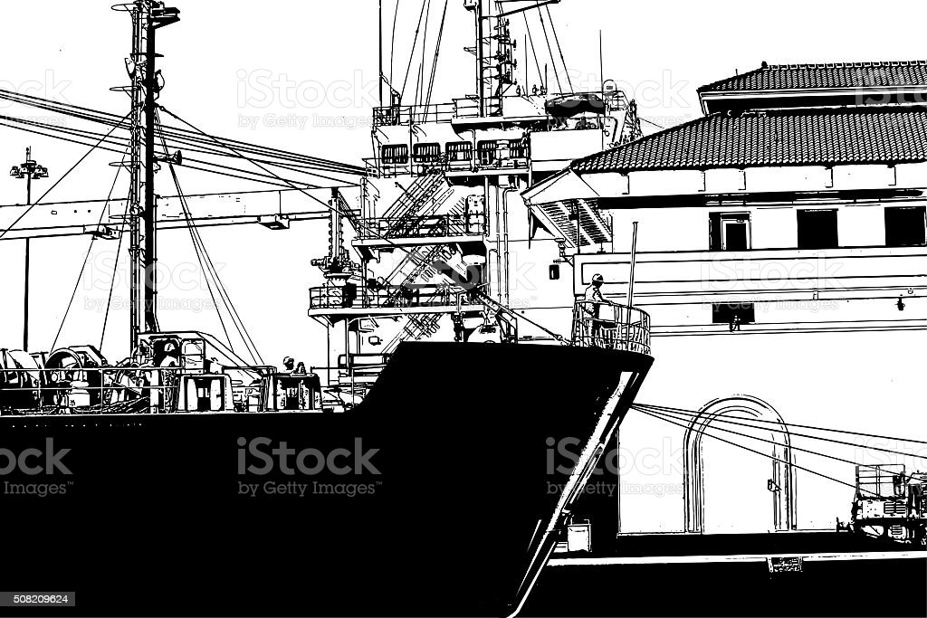 Freight Ship In The Panama Canal Miraflores Locks vector art illustration