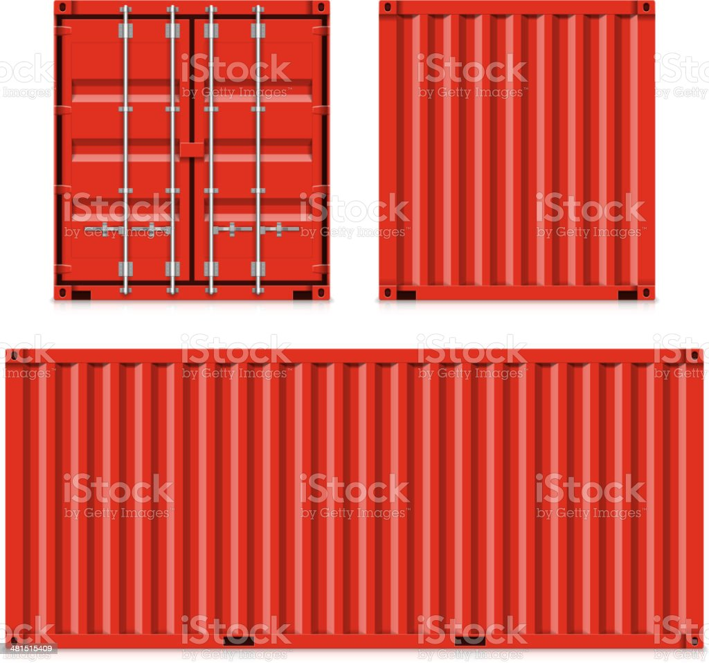 Freight shipping, cargo containers vector art illustration