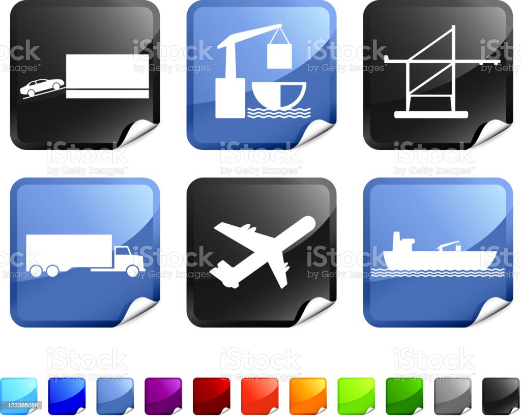 freight shipping royalty free vector icon set stickers royalty-free stock vector art