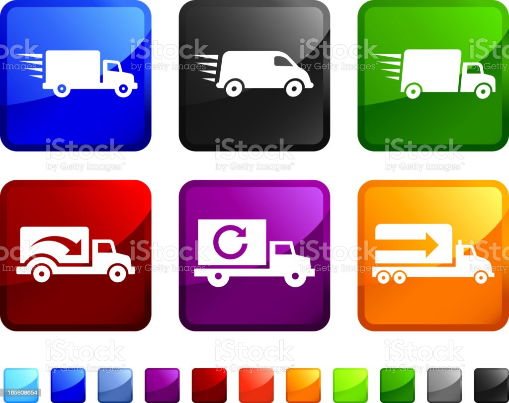 Freight Shipping Truck royalty free vector icon set stickers vector art illustration