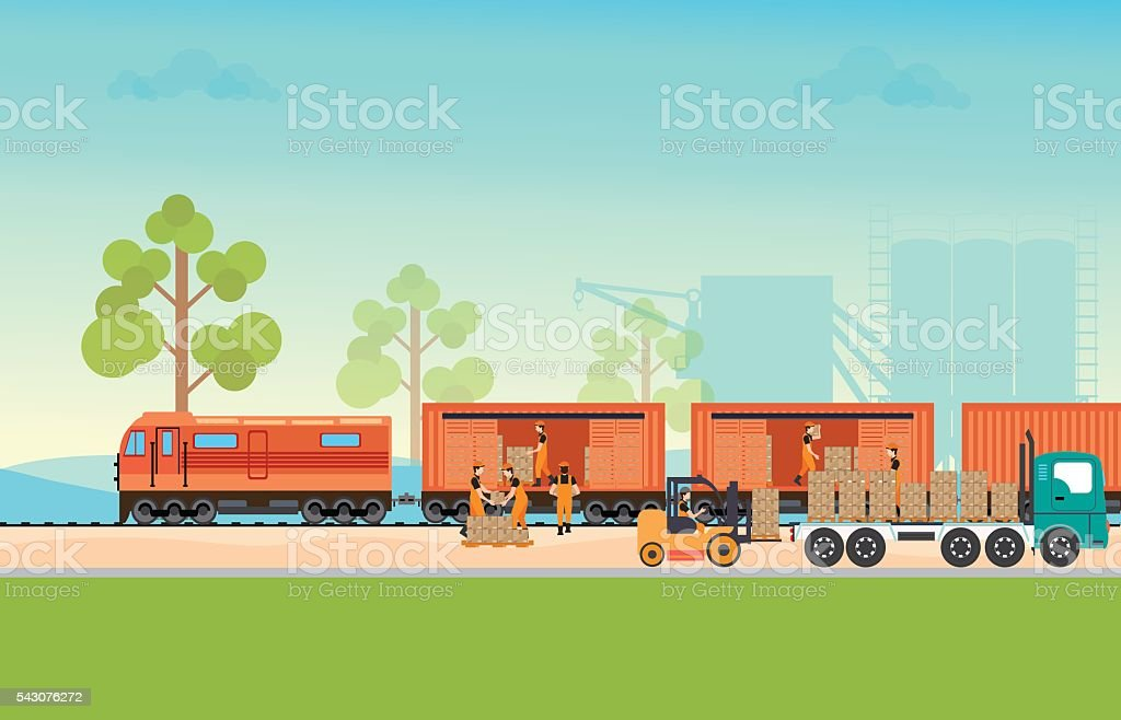 Freight train cargo cars. vector art illustration