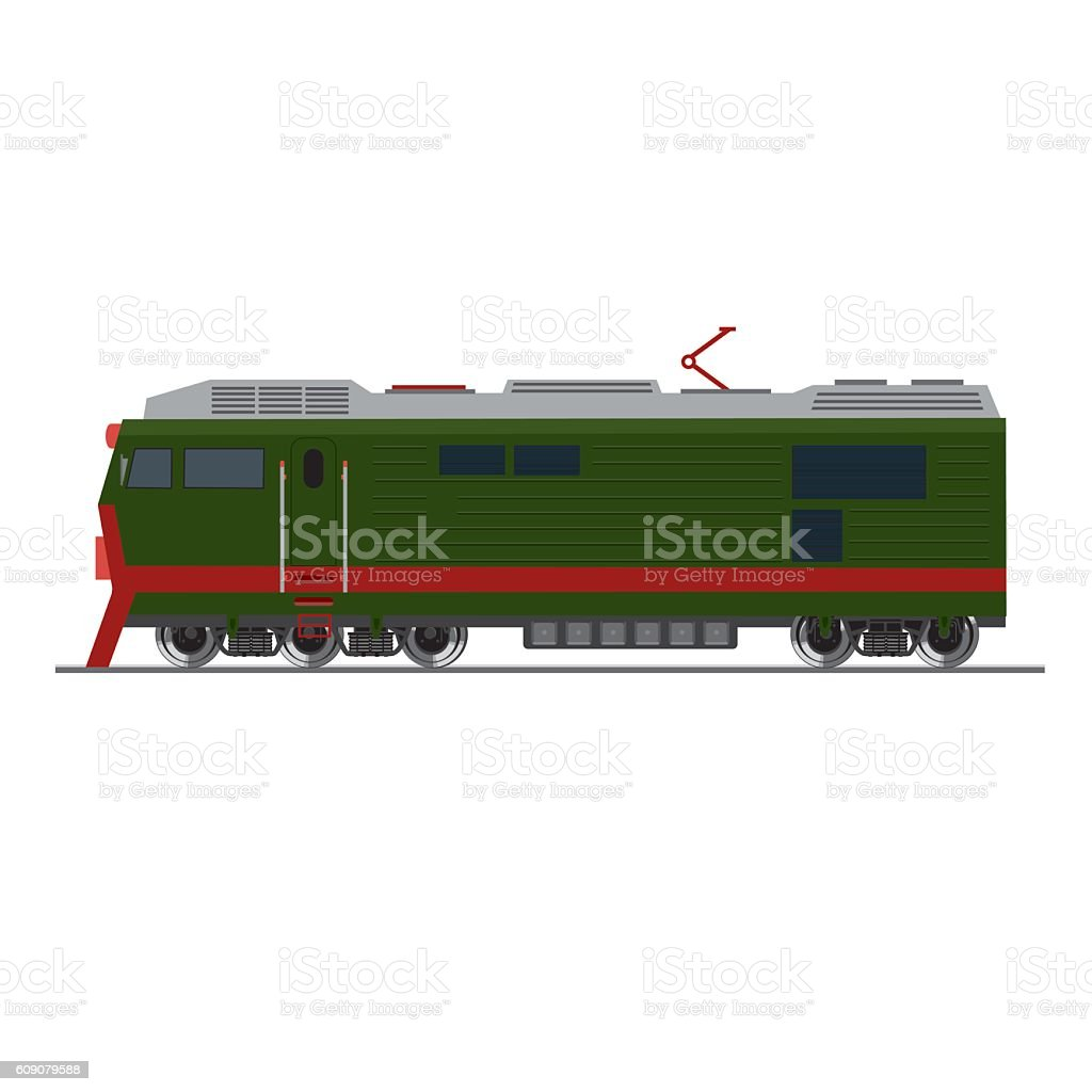 Freight train. Isolated on white. Side view vector art illustration