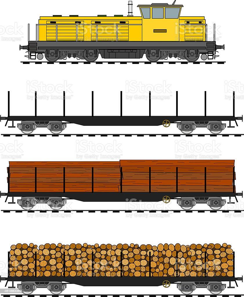 Freight train vector art illustration