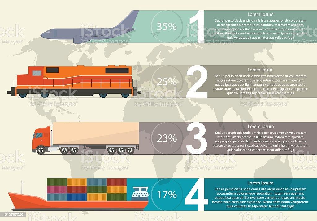 Freight transportation info graphic vector art illustration
