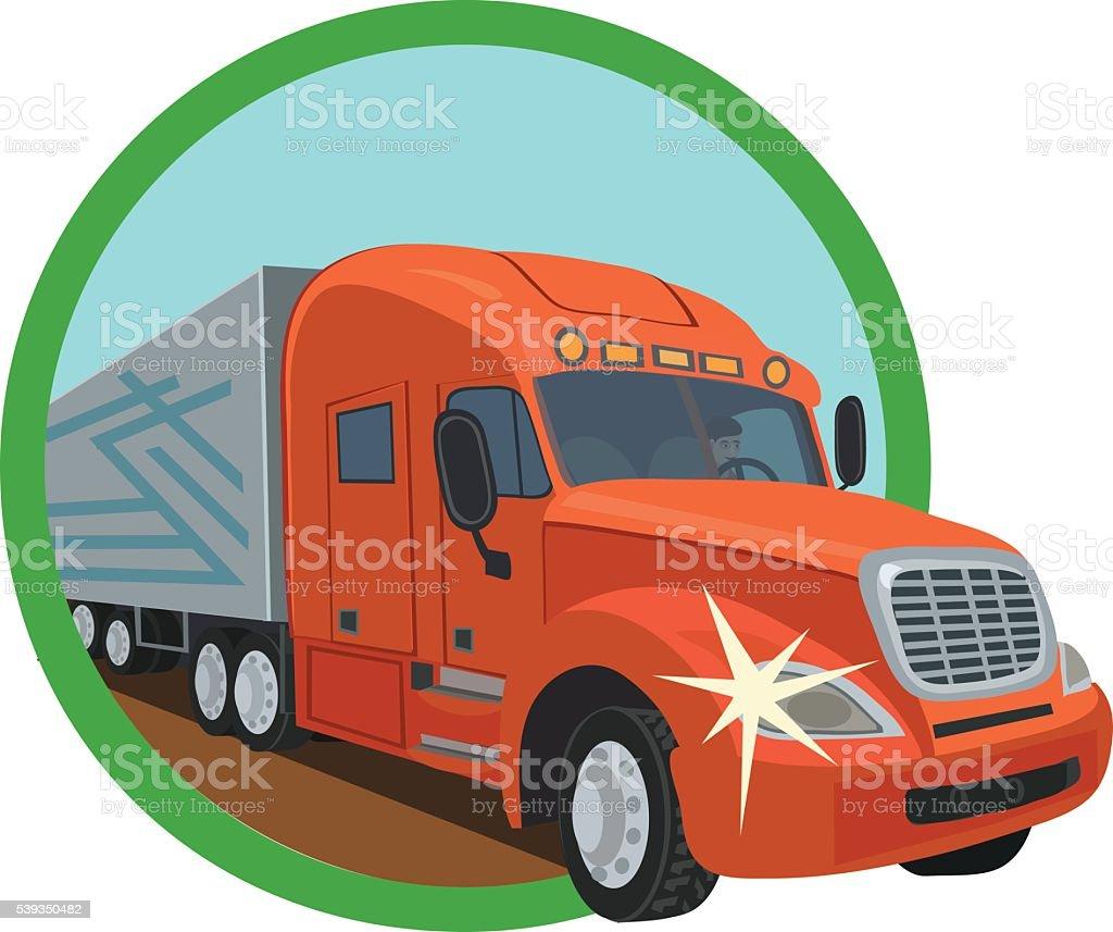 freight truckers on the roads vector art illustration