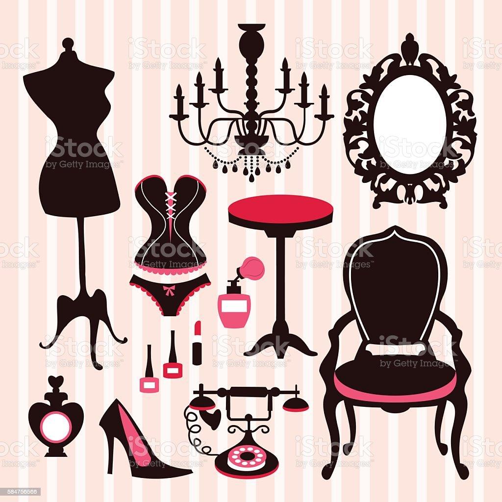 French Boudoir Design Elements vector art illustration