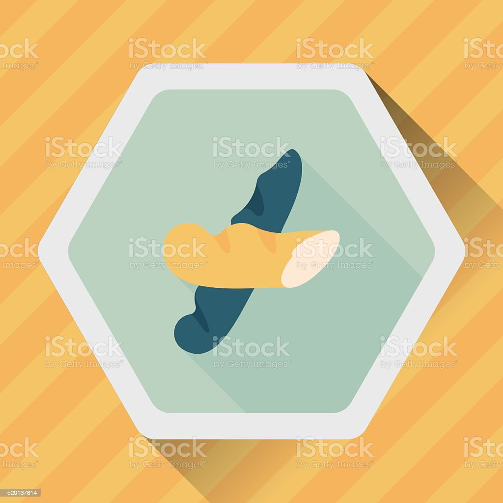 French bread flat icon with long shadow,eps10 vector art illustration