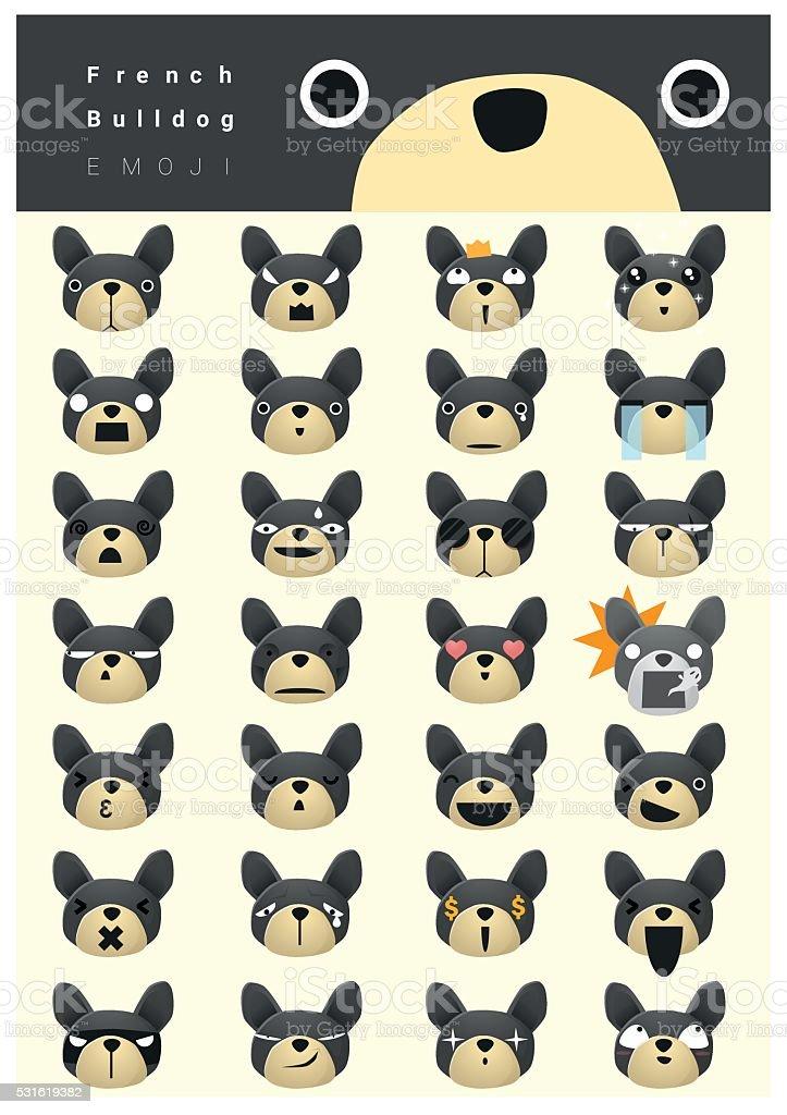 French bulldog emoji icons vector art illustration