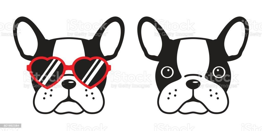 french bulldog face dog heart glasses illustration vector