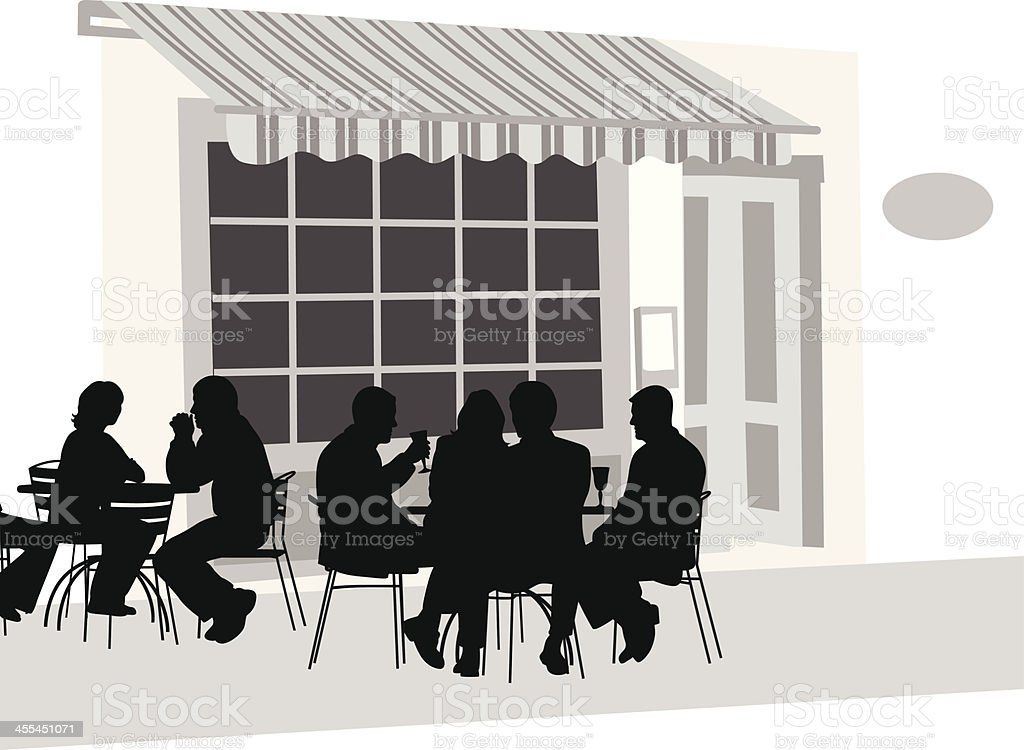 French Cafe Vector Silhouette royalty-free stock vector art