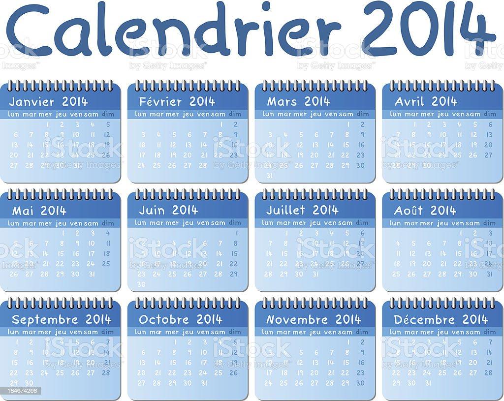 french calendar 2014 royalty-free stock vector art