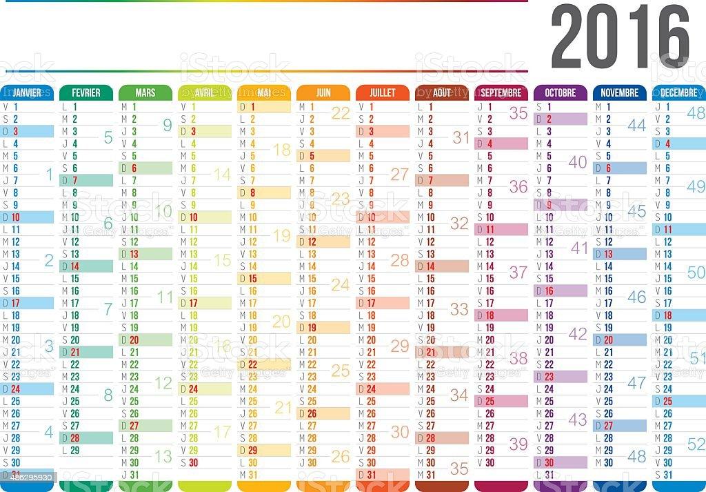 French Calendar 2016 vector art illustration