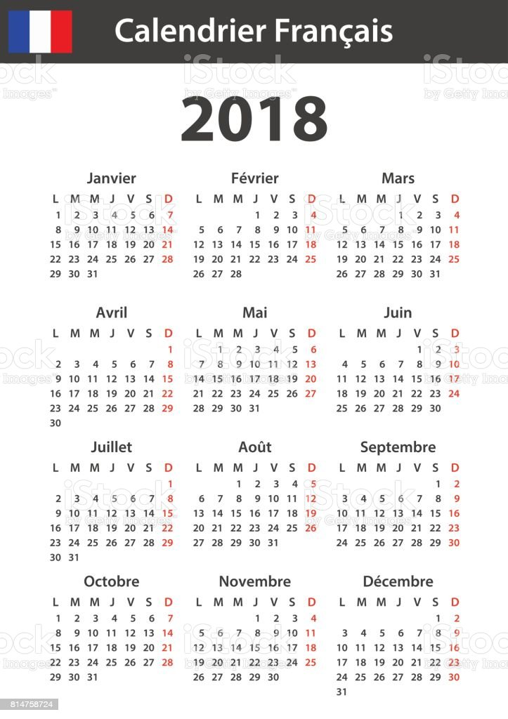 French Calendar For 2018 Scheduler Agenda Or Diary ...