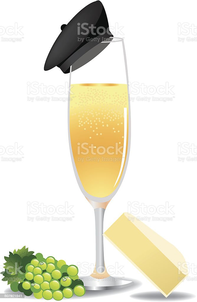 French champagne with beret, grapes, brie. vector art illustration