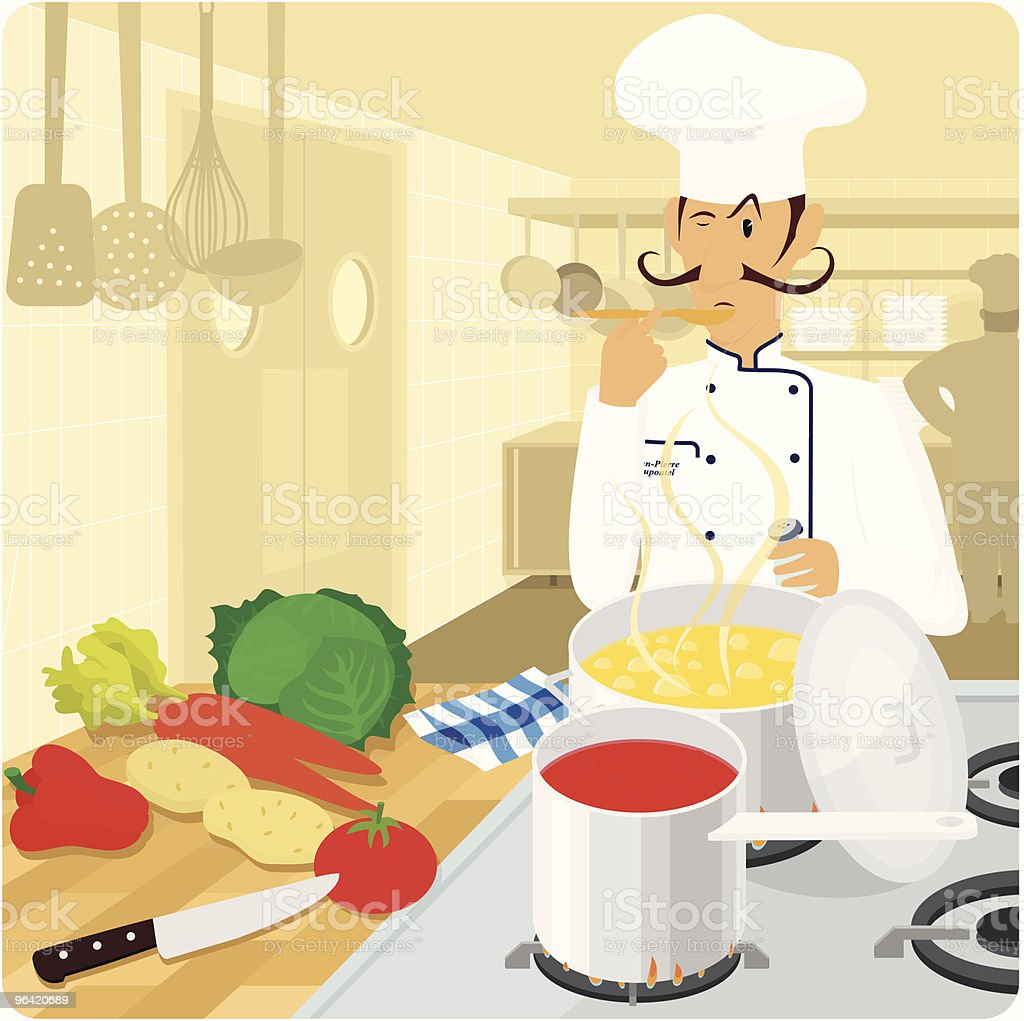 French chef in the kitchen vector illustration royalty-free stock vector art