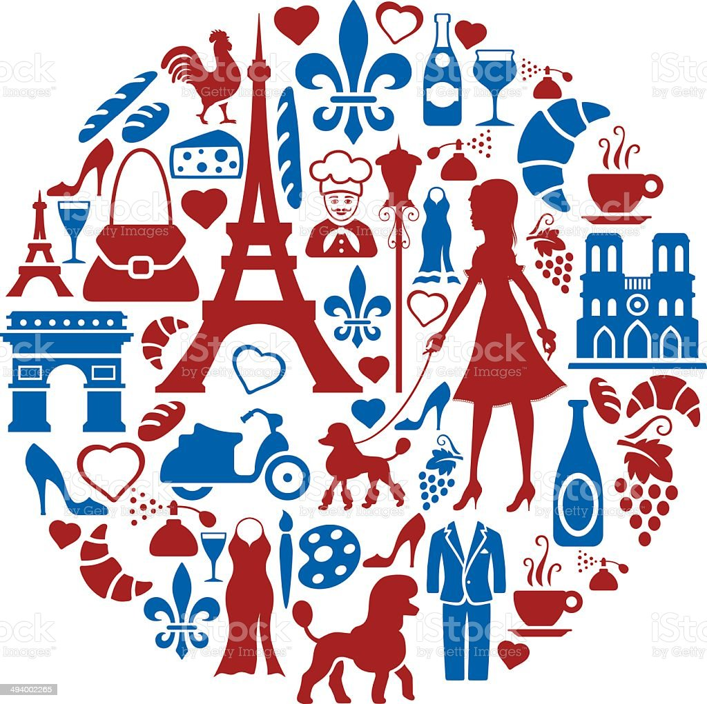 French Collage vector art illustration
