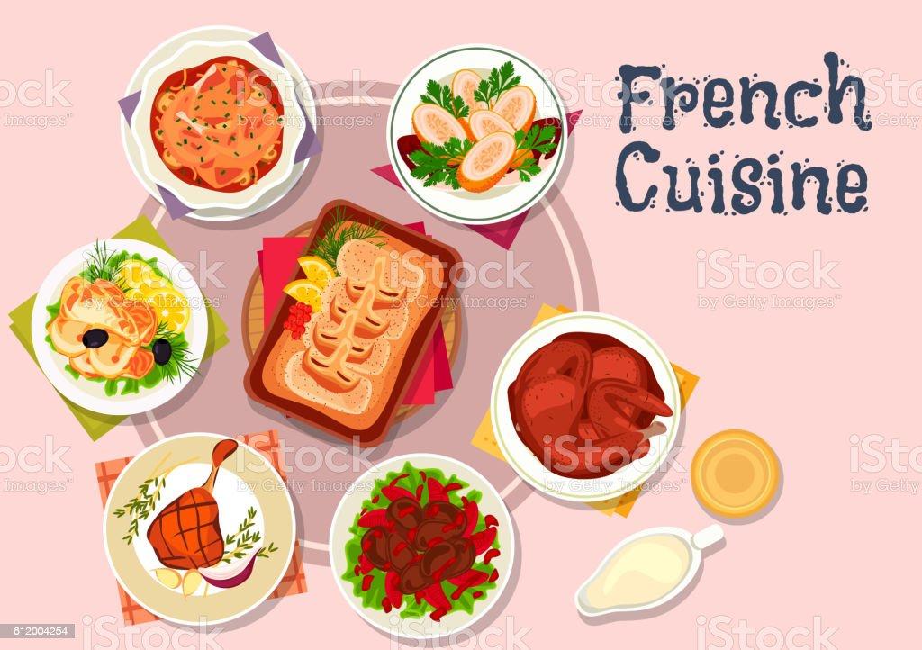 French cuisine dishes for restaurant menu design vector art illustration