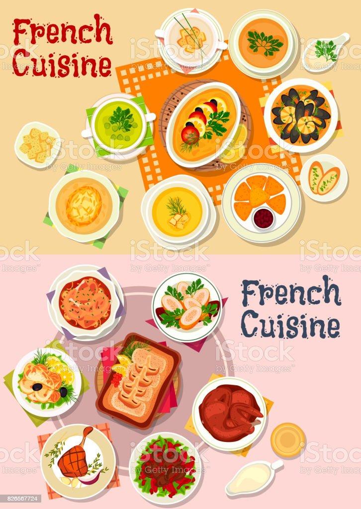 French cuisine national dish icon for menu design vector art illustration