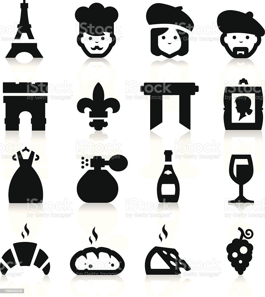 French Culture icons royalty-free stock vector art