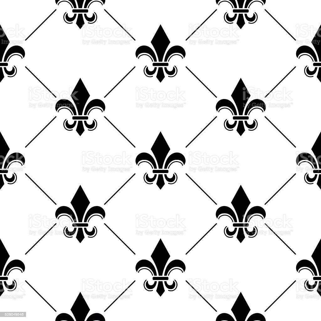 French Damask background - Fleur de lis black pattern vector art illustration