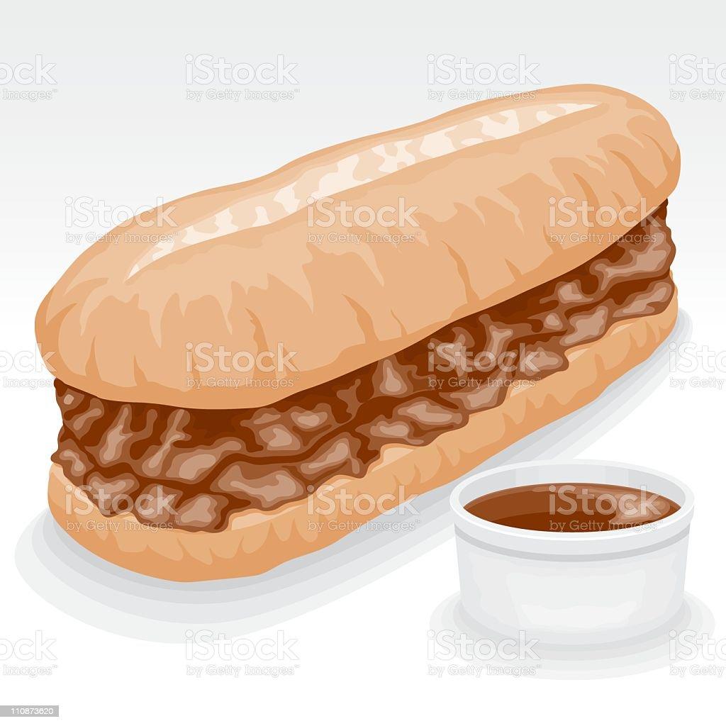French Dip Sandwich vector art illustration