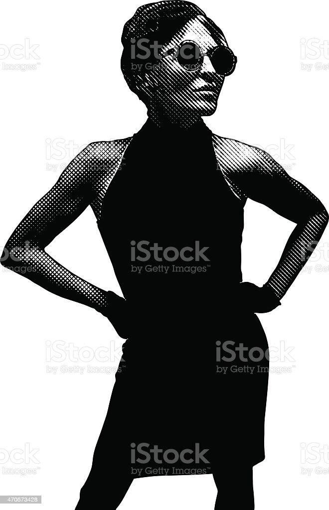 French Diva Wearing Beret vector art illustration