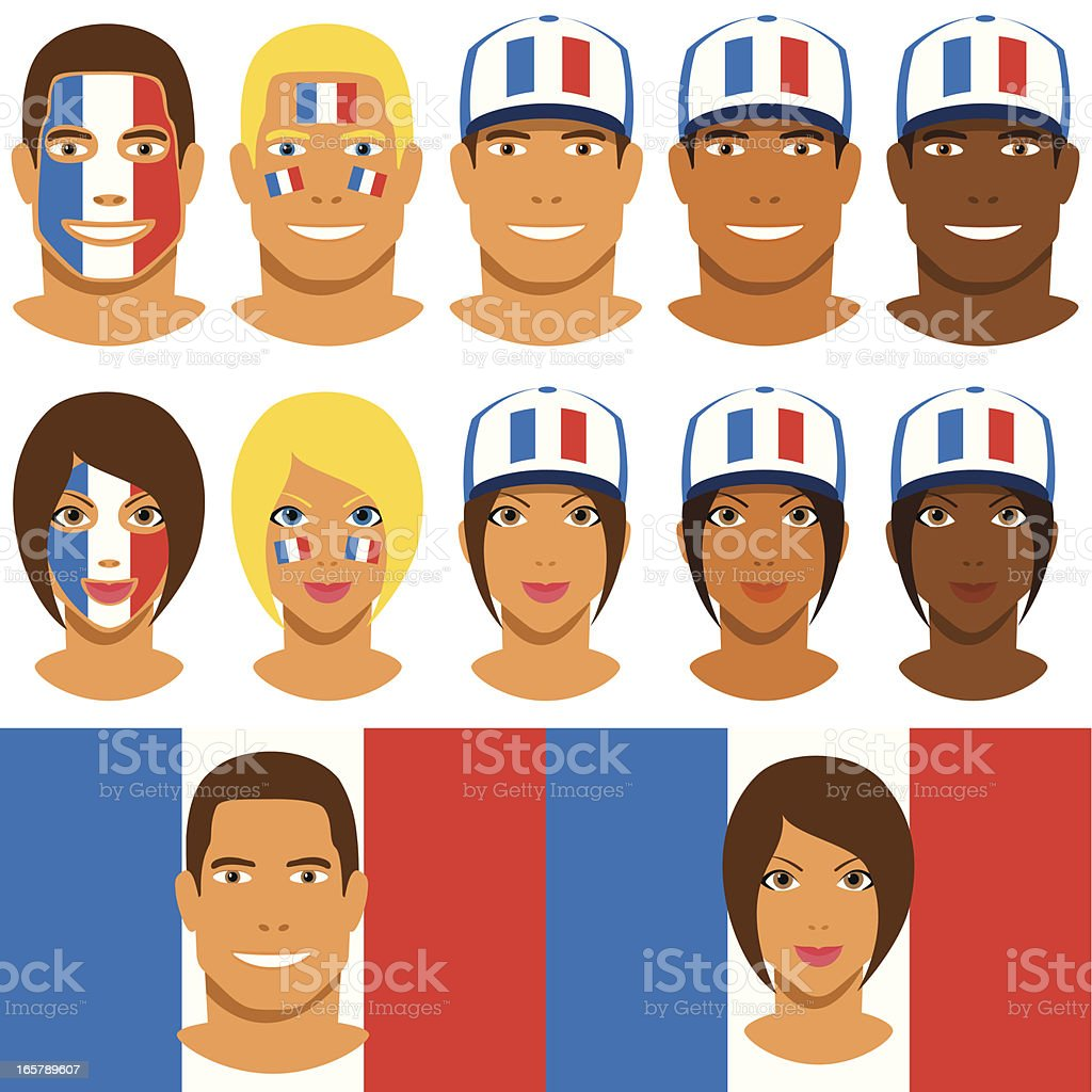 French fans, patriot with flag of France vector art illustration
