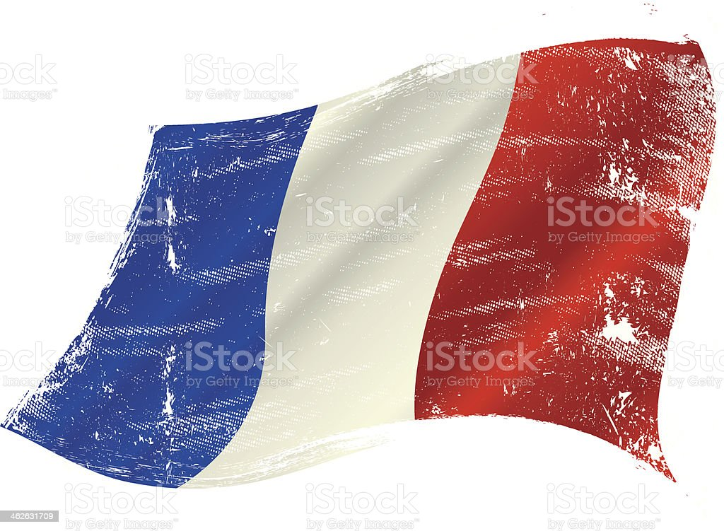 French flag grunge vector art illustration
