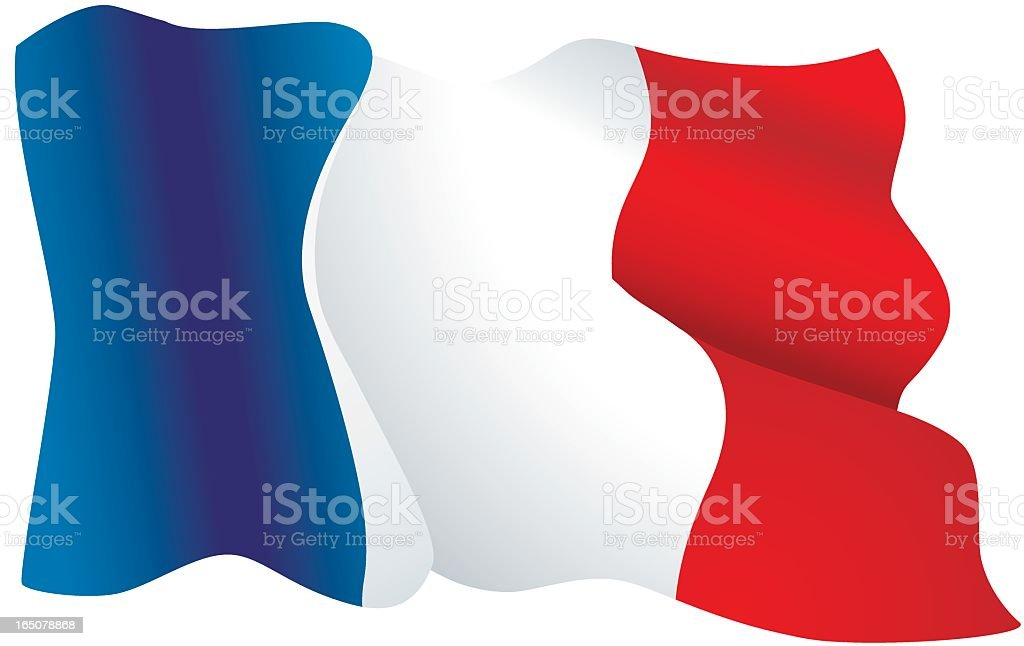 French flag in blue, white and red isolated on white royalty-free stock vector art