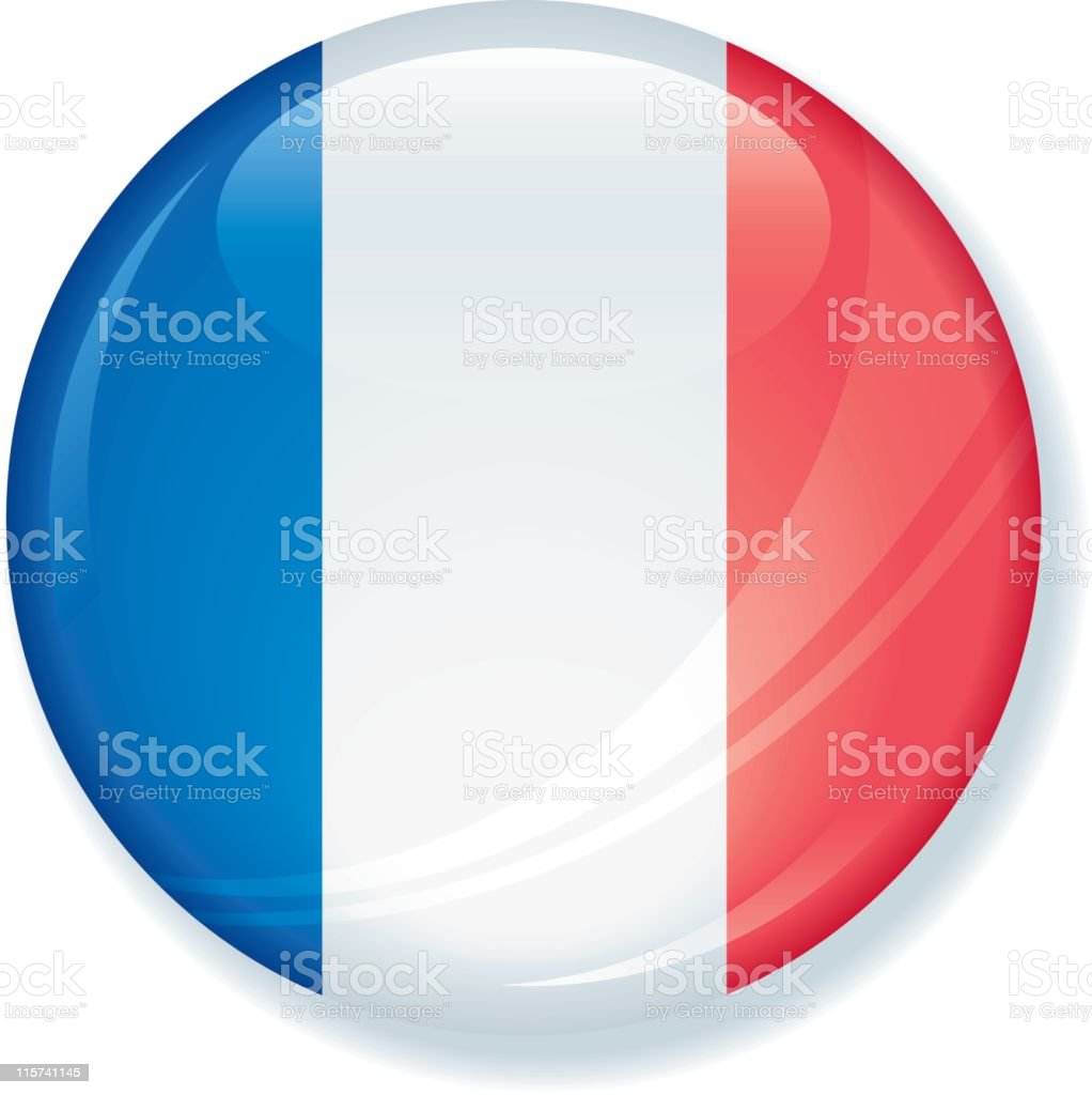 French Flag Super Glossy Button royalty-free stock vector art