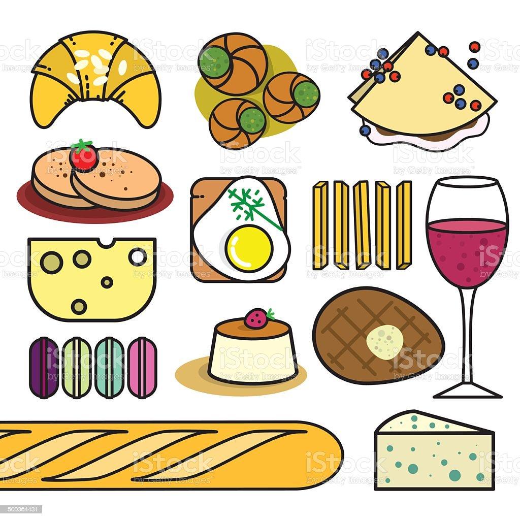 French food vector art illustration