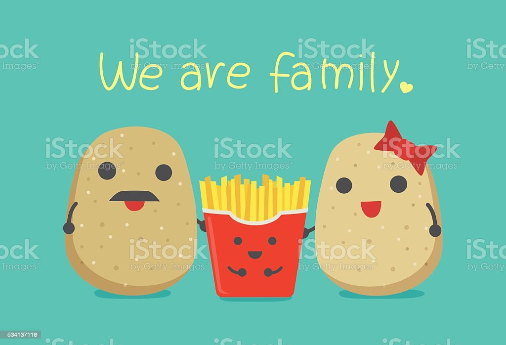 French fries boy and potato parent. vector art illustration