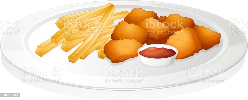 french fries, cutlet and sauce royalty-free stock vector art