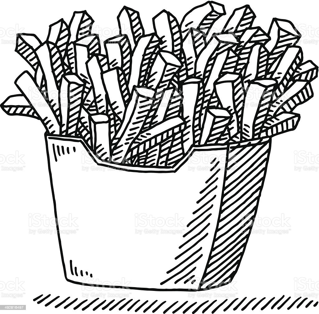 French Fries Fast Food Drawing vector art illustration